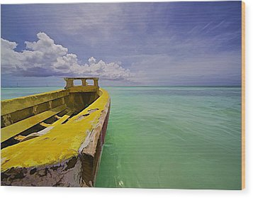 Worn Yellow Fishing Boat Of Aruba II Wood Print