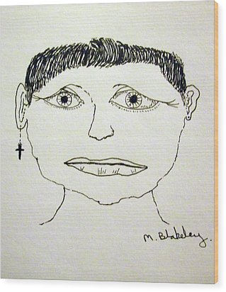 Wood Print featuring the drawing Worried Female by Martin Blakeley