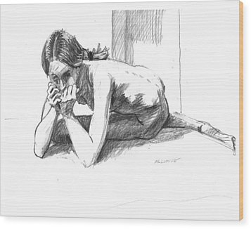Worried Girl Wood Print by Mark Lunde