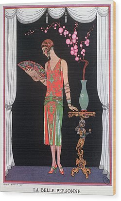 Worth Evening Dress Fashion Plate From Gazette Du Bon Ton Wood Print by Georges Barbier