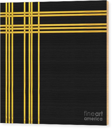 Woven 3d Look Golden Bars Abstract Wood Print by Rose Santuci-Sofranko