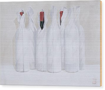 Wrapped Bottles 3 2003 Wood Print by Lincoln Seligman
