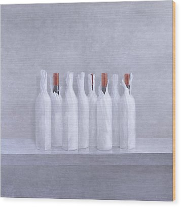 Wrapped Bottles On Grey 2005 Wood Print by Lincoln Seligman