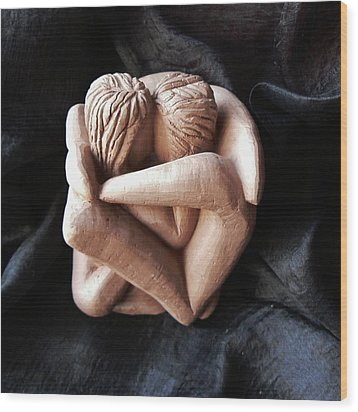 Wood Print featuring the sculpture Wrapped Up In Each Other by Barbara St Jean