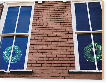 Wreaths In A Window Wood Print by Audreen Gieger-Hawkins