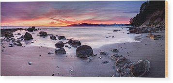 Wreck Beach Panorama Wood Print by Alexis Birkill