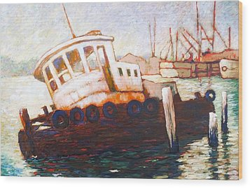 Wood Print featuring the painting Wrecked Tug by Charles Munn