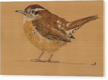 Wren Bird Wood Print by Juan  Bosco