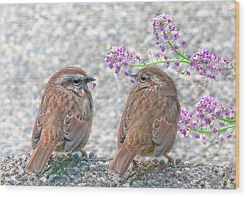 Wren Bird Sweethearts Wood Print by Jennie Marie Schell