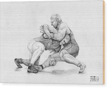 Wrestlers Wood Print