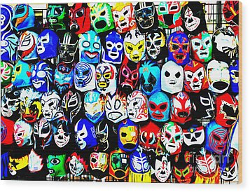 Wrestling Masks Of Lucha Libre Altered Wood Print by Jim Fitzpatrick