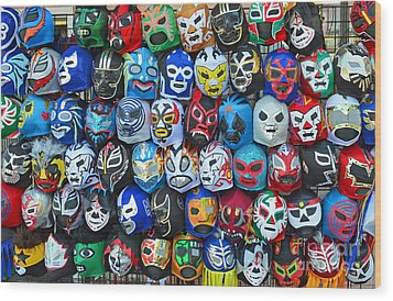 Wrestling Masks Of Lucha Libre Wood Print