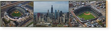 Wrigley And Us Cellular Fields Chicago Baseball Parks 3 Panel Composite 01 Wood Print by Thomas Woolworth