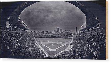 Wrigley Field Night Game Chicago Bw Wood Print by Steve Gadomski