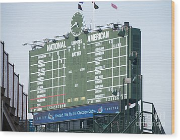 Wrigley Field Scoreboard Sign Wood Print by Paul Velgos