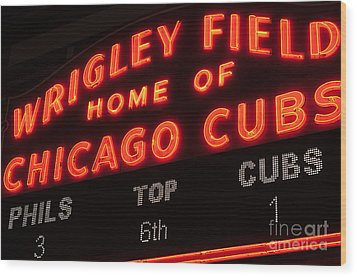 Wrigley Field Sign At Night Wood Print by Paul Velgos