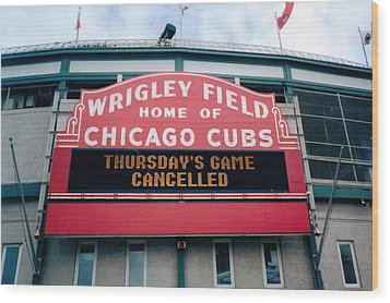 Wood Print featuring the photograph Wrigley Field Weeps For America by Sheri Keith