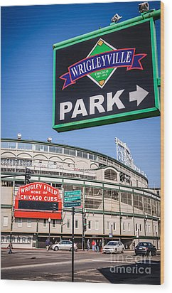 Wrigleyville Sign And Wrigley Field Wood Print by Paul Velgos