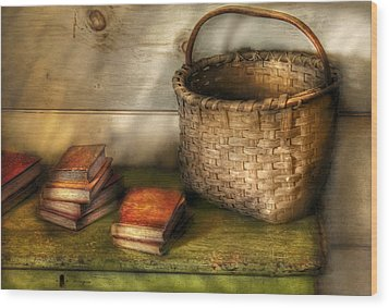 Writer - A Basket And Some Books Wood Print by Mike Savad