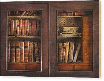 Writer - Books - The Book Cabinet  Wood Print by Mike Savad