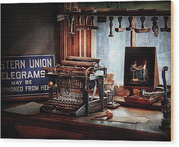 Writer - Typewriter - The Aspiring Writer Wood Print by Mike Savad