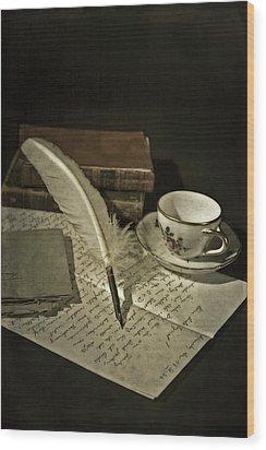 Writing Wood Print by Joana Kruse