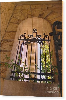 Wood Print featuring the photograph Wrought Iron Arch Window 1 by Becky Lupe