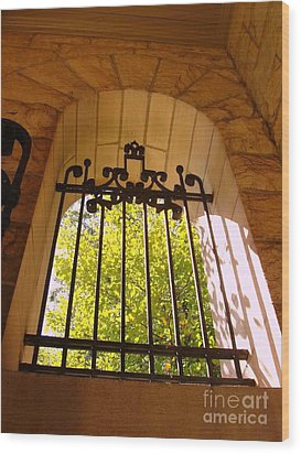 Wood Print featuring the photograph Wrought Iron Arch Window by Becky Lupe