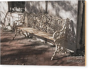 Wrought Iron Bench In White Wood Print by Jennifer Apffel
