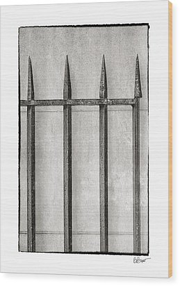Wrought Iron Gate In Black And White Wood Print by Brenda Bryant