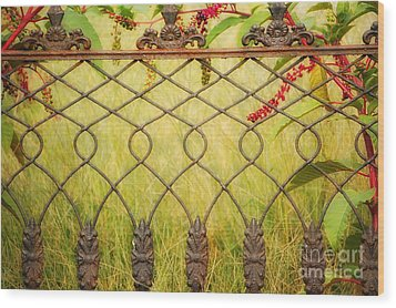 Wrought Iron With Red And Green Wood Print by Kathleen K Parker
