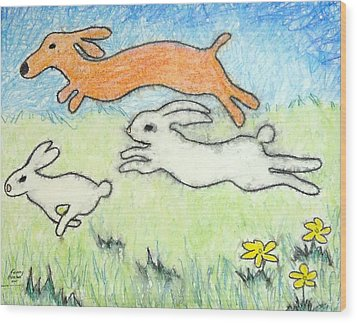 Wood Print featuring the mixed media Wunning Wif Wabbits by Kenny Henson