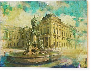 Wurzburg Residence With The Court Gardens And Residence Square Wood Print by Catf