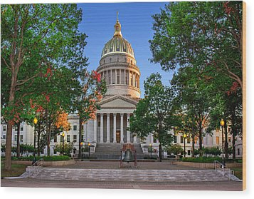 Wv Capitol As Dusk Wood Print by Mary Almond