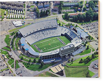 Wvu Mountaineer Stadium Aerial Wood Print by Pittsburgh Aerials