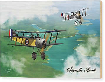 Ww1 British Sopwith Scout Wood Print by John Wills