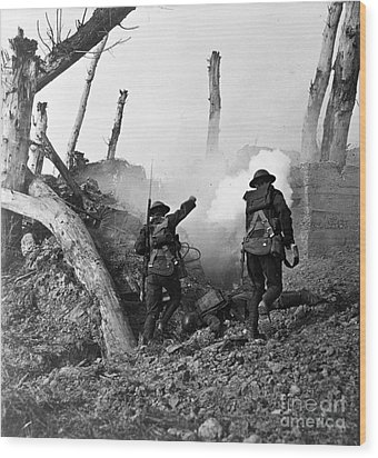 Wwi American Soldiers  Wood Print by Photo Researchers
