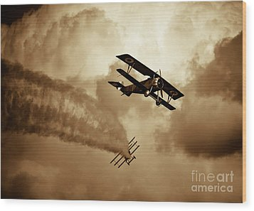 Wwi Dog Fight Wood Print