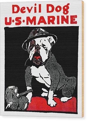 Wwi Marine Corps Devil Dog Wood Print by Historic Image
