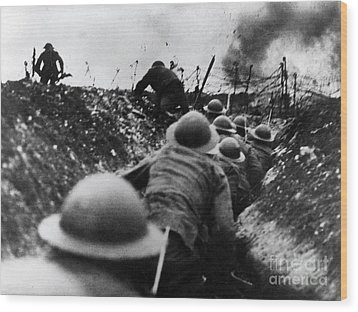 Wwi Over The Top Trench Warfare Wood Print by Photo Researchers