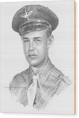 Wwii Military Dad Pencil Portrait Wood Print by Mike Theuer