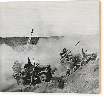 Wwii Usmc Rockets On Iwo Jima Wood Print by Historic Image