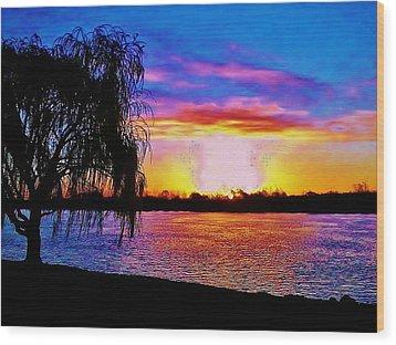 Wood Print featuring the photograph Wyandotte Mi Sunrise by Daniel Thompson