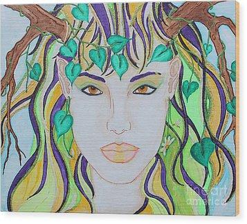 Wyld Spring Spirit Wood Print by Luanna Swaney