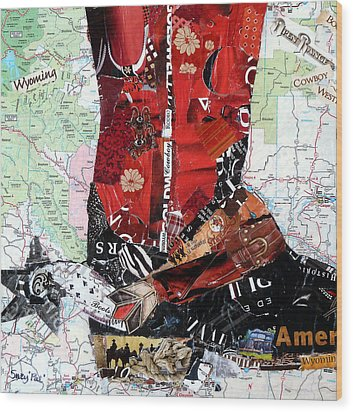 Wyoming Boot Wood Print by Suzy Pal Powell