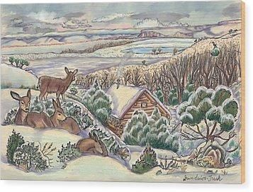 Wyoming Christmas Wood Print by Dawn Senior-Trask