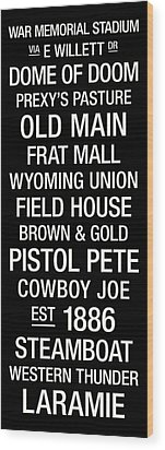 Wyoming College Town Wall Art Wood Print by Replay Photos