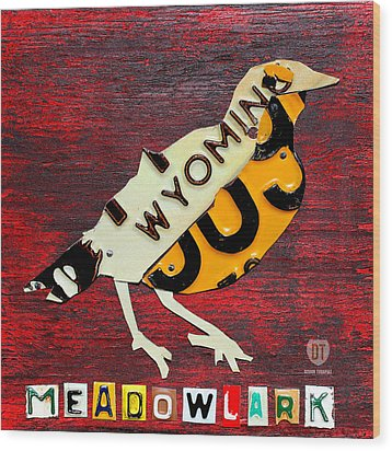 Wyoming Meadowlark Wild Bird Vintage Recycled License Plate Art Wood Print by Design Turnpike