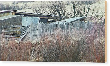 Wyoming Sheds Wood Print by Lenore Senior