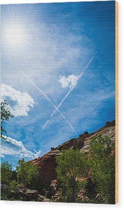 X Marks Wood Print by Rhys Arithson